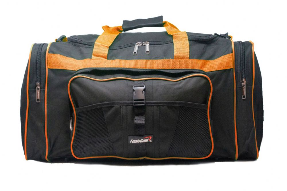 Large 50L foolsGold® Sports Holdall Bag - Black/Orange